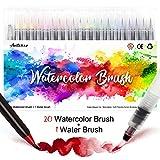 Amteker 20 Stylo Aquarelle + 1 Aqua Brush - Feutre Coloriage Feutre Alcool Feutres Pinceaux Brush Pen Feutre Pinceau pour Coloriage Adulte, Bullet Journal Accessoires, Stylo Calligraphie
