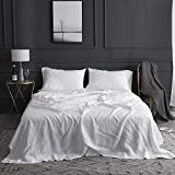Simple&Opulence 100% Linen Sheet Set with Embroidery Stone Washed - 4 Pieces (1 Flat Sheet & 1...
