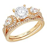 1.94ct Round Pear Cut Solitaire 3 stone With Accent VVS1 Ideal D Moissanite & Simulated Diamond...