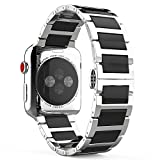 MoKo Compatible Band Replacement for Apple Watch 42mm 44mm Series 5/4/3/2/1, Stainless Steel Ceramics Link Replacement Strap Bracelet with Butterfly Buckle Clasp - Black(Not Fit iWatch 38mm 40mm)