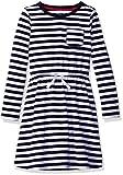 Amazon Essentials Little Girls' Long-Sleeve Elastic Waist T-Shirt Dress, evening stripe navy with white bow, M