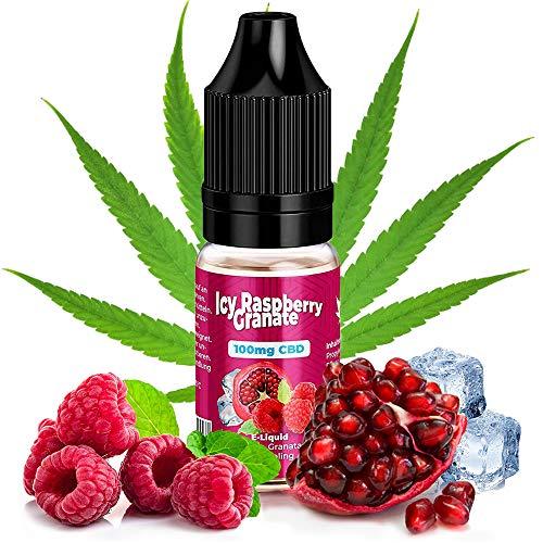 CBD Elíquid Vape 100mg de KDM Liquids® Sabor de Icy Raspberry Garnet 10ml - Vaper Líquido con Terpenos Naturales para E Cigarette & Vapeador sin Nicotina & THC