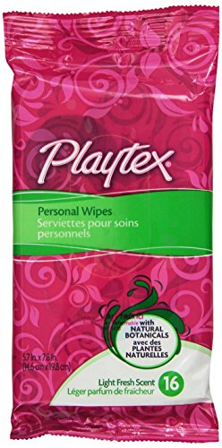 Playtex Personal Cleansing Cloths Travel Pack, 16-Count Light Fresh Scent (Pack of 6)