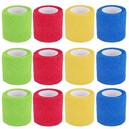 Benda Coesiva, 12 Rotoli Fasciatura Adesiva Elastica, Colorato Elastica Tessuto Medico per Mano,...