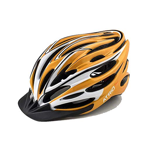 Capacete para Ciclismo INMOLD Tam. G com LED Traseiro e Entradas de Ventilação Amarelo - BI123 Atrio Adultos