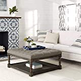 Tufted Ottoman Coffee Table Centerpiece Suitable for Living Rooms. Large Storage Bench Provides Comfort and Functionality. Beige Grey Linen Fabric and Sturdy Wooden Frame in Oak Enhance Your Home.