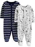 Simple Joys by Carter's Boys' 2-Pack Cotton Footed Sleep and Play, Animals Green/Stripe, 6-9 Months