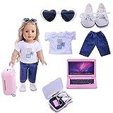 Hinleise Juego de maletas de viaje para muñecas de 45,72 cm, accesorios de muñeca americana, camisa, pantalones, gafas, zapatos, maleta, 6 piezas/set