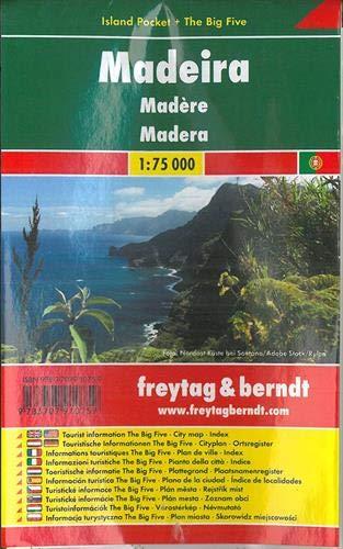 Madeira, plano de carreteras de bolsillo plastificado. Escala 1:75.000. Freytag & Berndt.: Toeristis