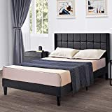 kealive Queen Bed Frame with Wingback Headboard, Upholstered Platform Bed, Mattress Foundation, No Box Spring Needed, Easy Assembly, Grey