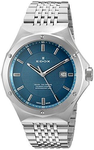 Edox BUIN Delfin Herren-Armbanduhr 53005, Analoganzeige, Schweizer Quarzuhrwerk, Silber