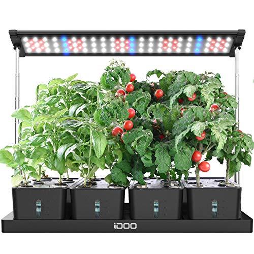 iDOO Huerto de Interior con LED Lámpara de Planta, 68cm Altura Ajustable, Temporizador de Ajuste Libre, 4 Tanques de Agua Desmontables, Jardinería Hidropónico de Interior para Hierbas