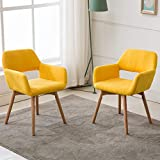 Lansen Furniture (Set of 2) Modern Living Dining Room Accent Arm Chairs Club Guest with Solid Wood Legs (Yellow)