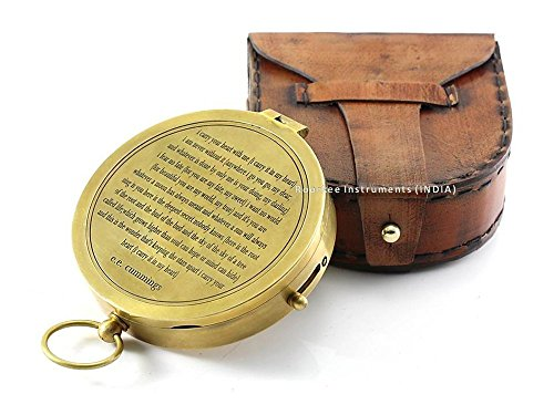 Valentines Gift idea Vintage Brass Compass with Handmade Leather Case/E.E. Cummings Directional Magnetic Compass for Navigation/Push Button Compass for Camping, Hiking, Touring