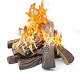 Gas Fireplace Logs,10pcs Large Faux Firepit Logs, Decorative Ceramic Wood Log Set for Indoor Outdoor Gas Insets, Vented,Ventless, Electric,Ethanol,Gel Fireplaces