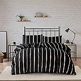 HSKIKWN Black and White Striped Comforter Set Microfiber Queen Duvet Cover Set 90'x90'Ultra Soft Hotel 3PCS Geometry Full Bedding Set