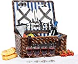 Picnic Basket Set for 4 Person   INSULATED Picnic Hamper Set   Picnic Table Set   Picnic Plates   Picnic Supplies   Summer Picnic Kit   Picnic Utensils Cutlery Flatware