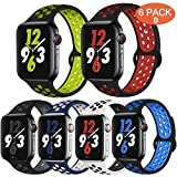 OriBear Compatible for Apple Watch Band 44mm Series 4 5 42mm Series 3/2/1, Breathable Sporty for iWatch Bands, Watch Nike+, Various Styles and Colors for Women and Men(M/L,6 Pack B)