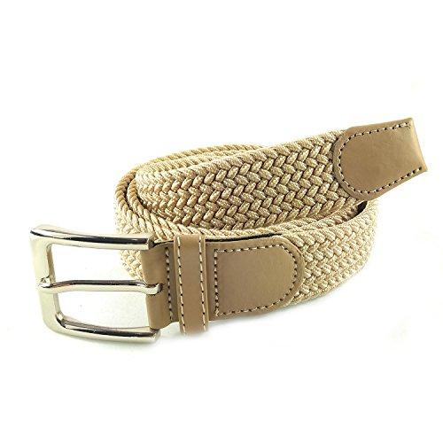 MYB Cintura elastica intrecciata per Uomo e Donna - diversi colori e dimensioni (105-110 cm, Beige)