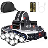 Headlamp, MOICO 13000 High Lumens Brightest 8 LED Headlight Flashlight...