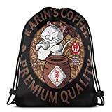 Yuanmeiju Drawstring Bag Sport Gym Party Gift Backpacks Storage Goodie Cat Time