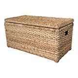 Wholestory Collective Handwoven Wicker 35' Banana Leaf Storage Trunk and Chest Toybox XL Organizers with Lid, Natural Color with Handles
