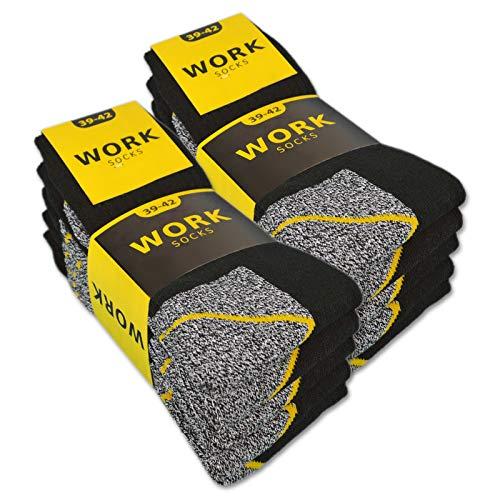 sockenkauf24 10 o 20 paia di calze da lavoro da uomo WORK (47-50, 10 paia | Nero/Grigio)