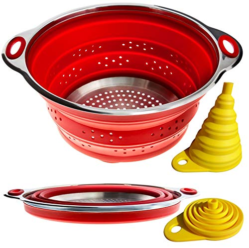 Combo of Collapsible Colander + Folding Funnel - Each Folds to 1...