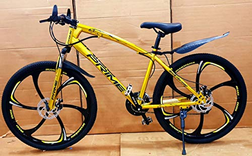 R Cycles Unisex Jag Sports MTB with 6 SpokesMag Wheels, Dual Disc Brakes, Hydraulic Suspension and 21 Derailleurs Gears (Golden)