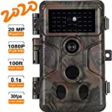 Game Trail Deer Camera with 100ft Night Vision Full HD 20MP Photo 1080P H.264 Video 0.1S Trigger Time Motion Activated IP66 Waterproof, Scouting Cam for Wildlife Hunting and Home Security Surveillance