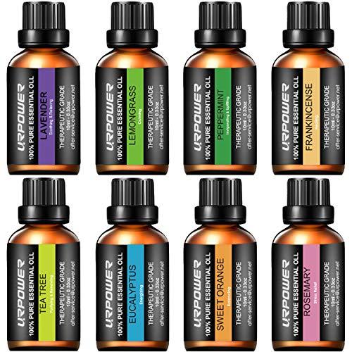 URPOWER Essential Oils Top 8 Aromatherapy Essential Oils 100% Pure Therapeutic Grade Essential Oils Set Lavender/Peppermint/Tea Tree/Orange/Eucalyptus/Lemongrass/Frankincense/Rosemary