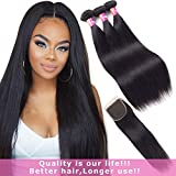 Malaysian Hair Bundles with Closure Remy Hair with Closure Straight Hair 3 Bundles With Free Part Lace Closure Natural Color by Originea(10'12'14'with 8'closure)