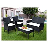 SIMBR 4 Pieces Outdoor Patio Furniture Sets Wicker Chairs with Coffee Table Conversation Sets Outdoor Furniture Patio Set for Backyard Lawn Porch Garden Poolside Balcony