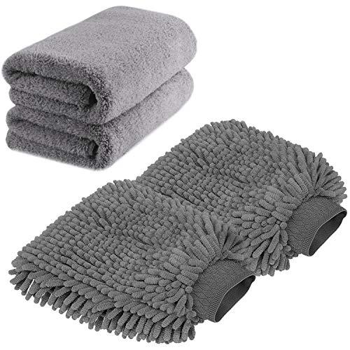 TAGVO Große Auto-Waschhandschuh und Mikrofaser-Reinigungstüch - Deluxe...