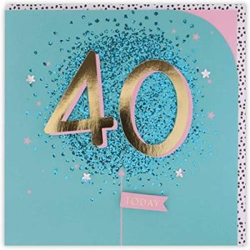 Clintons: Large 40 Attachments, 40th Milestone Birthday Greetings Card, 159x159mm, multi-color