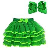 BGFKS 4 Layered Tulle Tutu Skirt for Girls with Hairbow or Birthday Sash,Girl Ballet Tutu Skirt (Green, 4-5 Years)