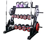 KINGC 3 Tier Multifunction Dumbbell Rack Home Workout Gym Kettlebells, and Weight Plates Storage Rack