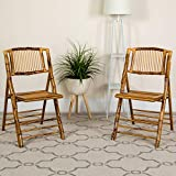 Flash Furniture 4 Pk. American Champion Bamboo Folding Chair, Natural Clear Coated Bamboo