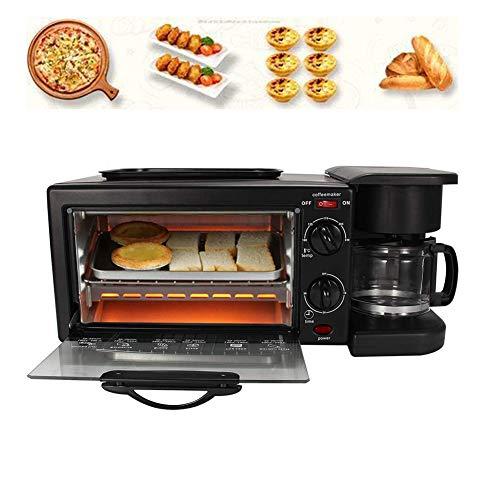 Elektrische Multifunktions Kleinküche Frühstückscenter mit Multiofen und 2 Kochplatten, 6-L-Backofen, 0,6-L-Kaffeemaschine