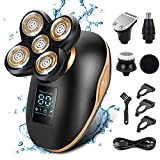 Electric Shavers for Men, Apark 5 in 1 Head Shavers for Bald LED Electric Shaving Razors Rechargeable Cordless Wet Dry Rotary Shaver Grooming Kit with Clippers Nose Hair Trimmer (Gold Head)