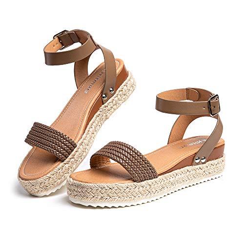 Sandalias Mujer Plataforma Alpargatas Cuña Verano Zapatos de Tacón Punta Abierta Comodas Vestir Correa Tobillo Hebilla Marrón Claro-1 39 EU