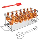 Skinartwork Chicken Legs Wing Grill Rack - Stainless Steel 14 Slots Metal Vertical Roaster Stand with Drip Pan for Smoker Grill or Oven, Collapsible Dishwasher Safe Non-Stick Barbecue Accessories