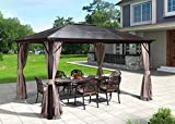 EROMMY 10'x12' Outdoor Hardtop Polycarbonate Gazebo Canopy Curtains Aluminum Frame with Netting for Garden,Patio