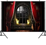 DULUDA 7X5FT Halloween Themed Photography Backdrop Curtain Floor Balcony Moon Magical Broom Background Photo Studio Booth Photographer Props HW42