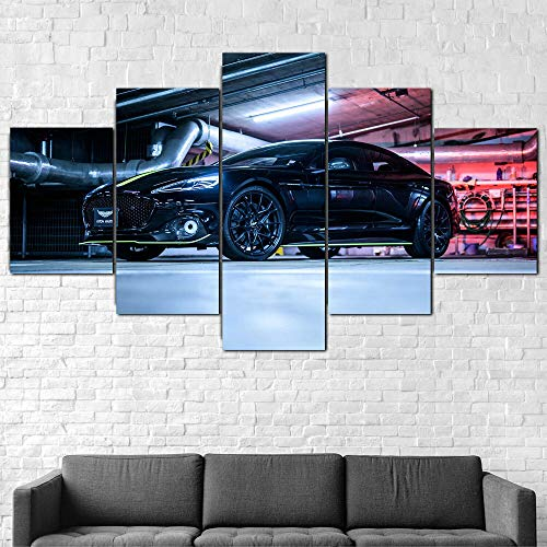 IMXBTQA Premium Canvas Art Print Wall Deco Xxl Giclee Canvas Print, Wall Art Canvas Picture 5 Pieces,Aston Martin Rapide Amr Car Canvas Picture Framed Canvas Painting 175X80Cm