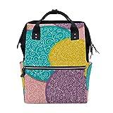 Bolsa de pañales para bebé de gran capacidad, colorido círculo floral, mochila de viaje multifunción duradera para mamá, niñas, enfermeras