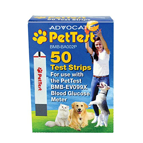 PetTest Advocate Monitoring Glucose Levels - Diabetes Testing Tools - Calibrated for Pets - Bonus eOutletDeals Pet Towel (50 Test Strips)