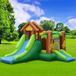 WATERJOY Kids Inflatable Castle,Jungle Kangaroo Slide Jumping Castle with 740W Blower,Bounce House Castle with Storage Bag for Outdoor Indoor Home Playground Garden Children Play