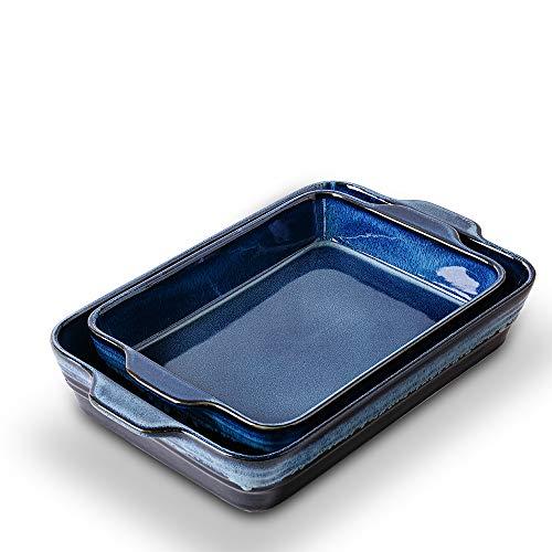 KOOV Bakeware Set, Ceramics Baking Dish Set, Rectangular Casserole Dish Set, Baking Pans, Lasagna-Pans Deep for Cooking Cake Dinner, Kitchen, 9 x 13 Inches, Reactive Glaze 2-Piece (Variable Blue)