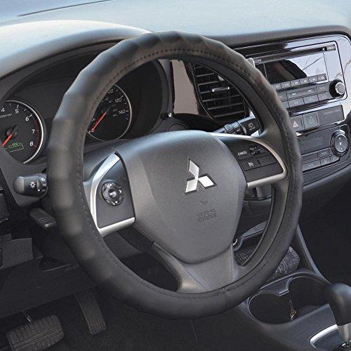 BDK Ergonomic Non-Slip Grip Genuine Leather Car Steering Wheel Cover (Black/Medium Size 14.5 to 15.5') (SW-899-MK)